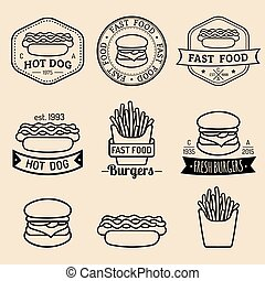 Vector vintage fast food logos set. Retro eating signs collection. Bistro, snack bar, street restaurant icons.