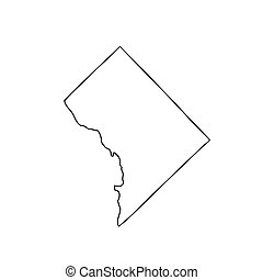 Map of the U.S. District of Columbia. Vector illustration
