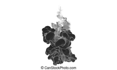 Black Ink on white backgound in water move in slow motion with alpha mask. VFX Flow of Ink or smoke for transitions, background, overlay and effects. Ver 9