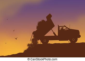 dump truck - illustration, silhouette of dump truck dumping...