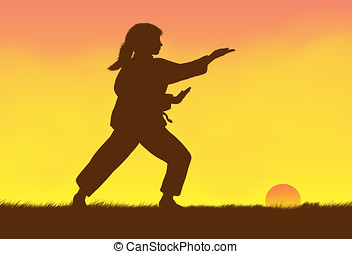 tai-chi - illustration, silhouette of woman practicing...