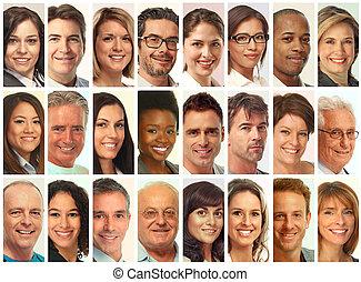 集合, 臉, 人們