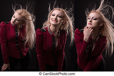 Gorgeous  woman with lush hair in motion in fashion photo shoot at studio
