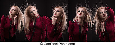 Attractive young  lady with lush hair in motion in vogue photo session at studio