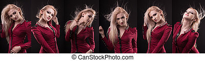 Glamorous woman with lush hair in motion in vogue photo session at studio