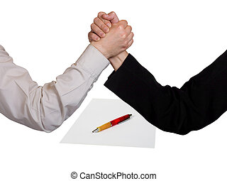 Two wrestling hands and contract, isolated on white...