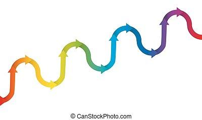 Gradual Upward Trend Symbol Rainbow Colored Arrows