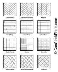 Parquet Patterns Collection Outline Illustration - Parquet...