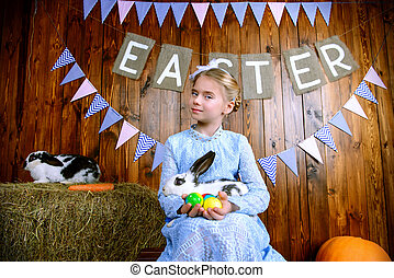 Easter holiday symbol - Easter holidays. Happy little child...
