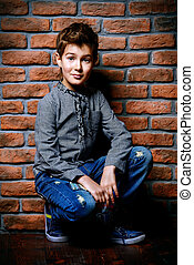 pre-teen boy portrait - Kid's fashion. Modern nine year old...