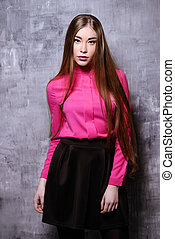 bright blouse - Portrait of a beautiful young woman with...