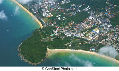 Dramatic Aerial View of Karon and Kata Beaches in Thailand....