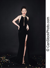 Vestido, Maquilagem, mulher, pretas, Asiático, moda, luxo