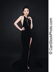 Asian woman with fashion makeup in luxury black dress.