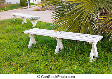 Stylish white bench - Stylish white wooden bench in the...