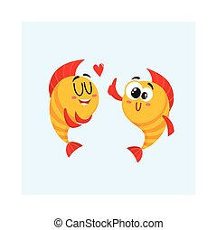 Two golden fish characters, showing love, giving thumb up