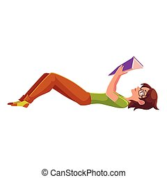 Girl, woman in glasses reading a book in lying position