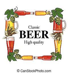 Square frame of beer bottle, mug, glass, malt and hop -...