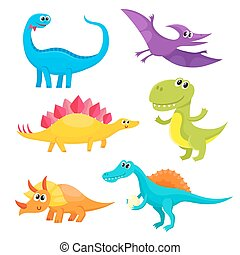 Set of cartoon style cute and funny smiling baby dinosaurs -...