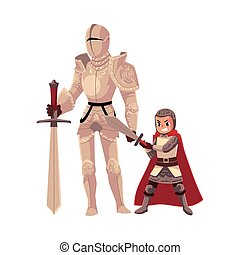 Medieval knight in decorated metal suit and armor bearer, squire