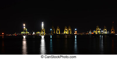 Night panorama scene of seaport container cargo freight