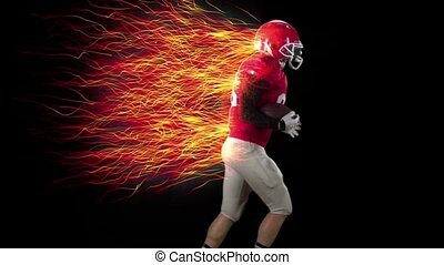 American football player running with the ball in hands, cg...