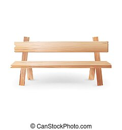 Wooden Bench Realistic Vector Illustration. Park Brown...