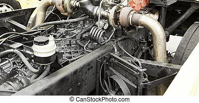 Metallic motor truck open in mechanics, vehicles and...