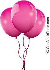 pink balloon - three pink balloons