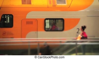 Train station travellers in slow motion - Shot of Train...