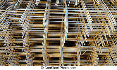 reinforcing mesh, steel bars stacked for construction