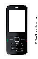 Mobile Phone on white. XXL - Black cell phone isolated...