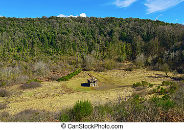 Santa Margarida Volcano in Olot, Spain - a view of the...