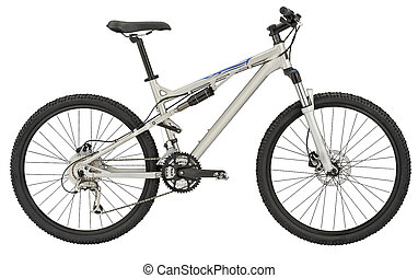 Sport silver bicycle on white