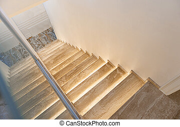 Steps descending to bar of room - Wide wooden staircase...