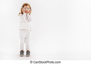 Little child in white clothes