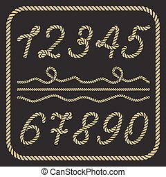 Gold numbers made from nautical rope - hand written font