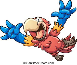 Red macaw - Cartoon red macaw. Vector clip art illustration...