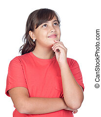 Pensive preteen girl isolated on white background