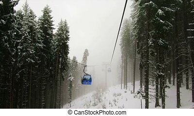Gondola in the mountains - Bulgaria. Bansko.11 March 2017....