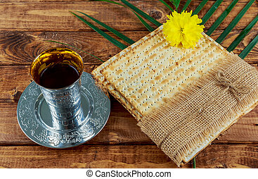 Pesach Still-life with wine and matzoh jewish passover bread...