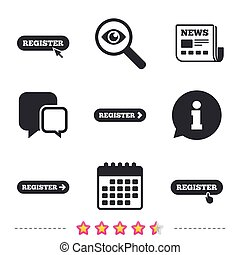 Register with hand pointer icon. Mouse cursor. - Register...