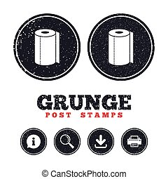 Paper towel sign icon. Kitchen roll symbol. - Grunge post...