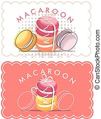Tag of macaron - Vector illustration coupon for a bakery...
