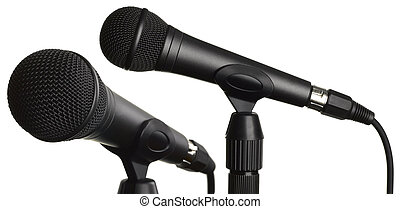 Microphones isolated on white + clipping path.