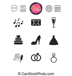 Wedding, engagement icons. Vow love letter. - Chat speech...