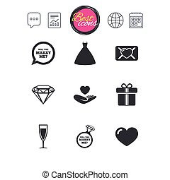 Wedding, engagement icons. Love oath letter. - Chat speech...