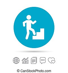 Upstairs icon. Human walking on ladder sign. Copy files,...