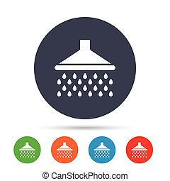 Shower sign icon. Douche with water drops symbol. Round...