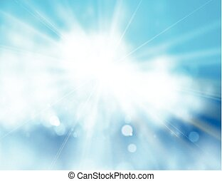 Blue sky and sun. Realistic Blur Design With Burst Rays....